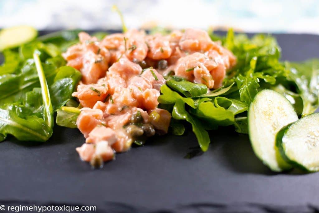 Tartare de Saumon et sa Roquette Sans Gluten et Sans Produits Laitiers